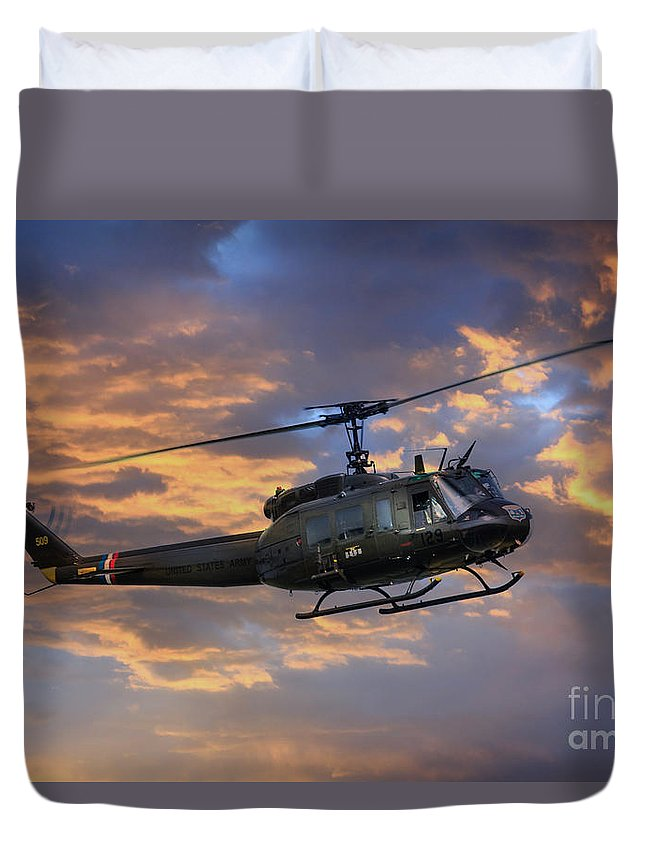 Bell Huey Duvet Cover featuring the digital art Huey - Vietnam Workhorse by J Biggadike