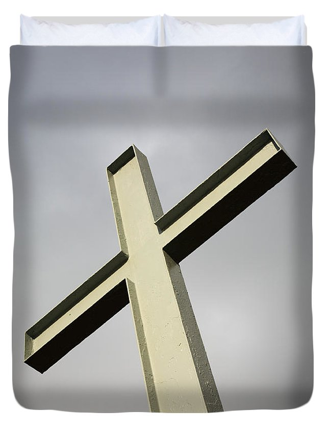 Angle Duvet Cover featuring the photograph Huge Cross by Deborah Benbrook