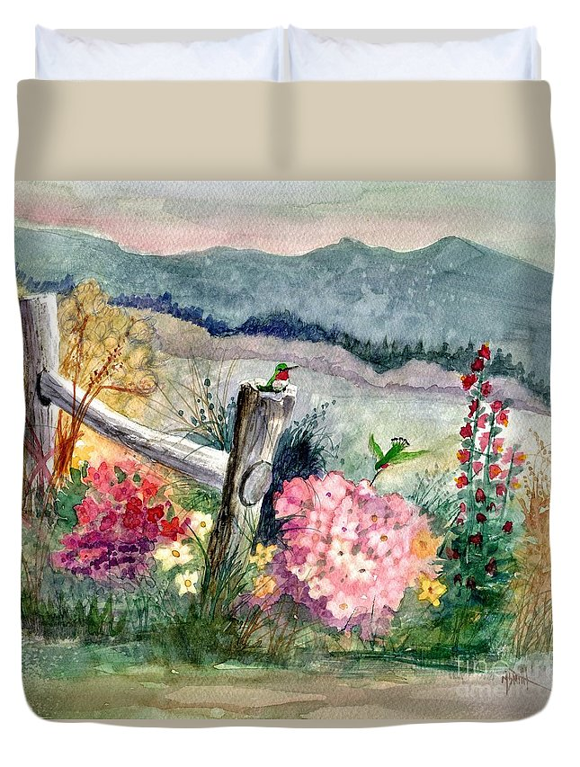 Hummingbirds Duvet Cover featuring the painting Hummingbird Haven by Marilyn Smith