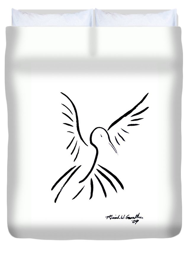Bird Duvet Cover featuring the drawing Hummingbird by Micah Guenther