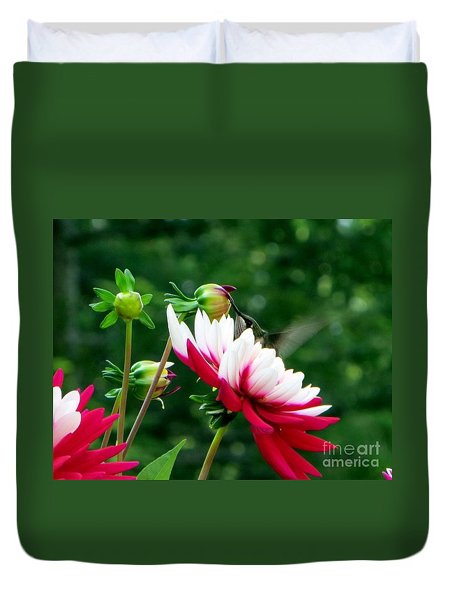 Bird Duvet Cover featuring the photograph Happy Hummer by Jaunine Roberts