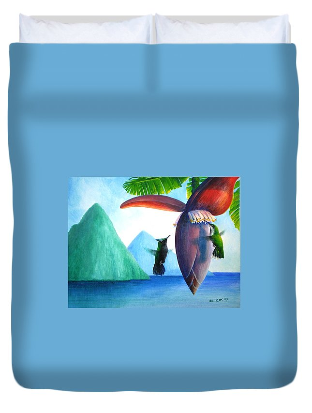 Chris Cox Duvet Cover featuring the painting Hummingbirds and bananas by Christopher Cox