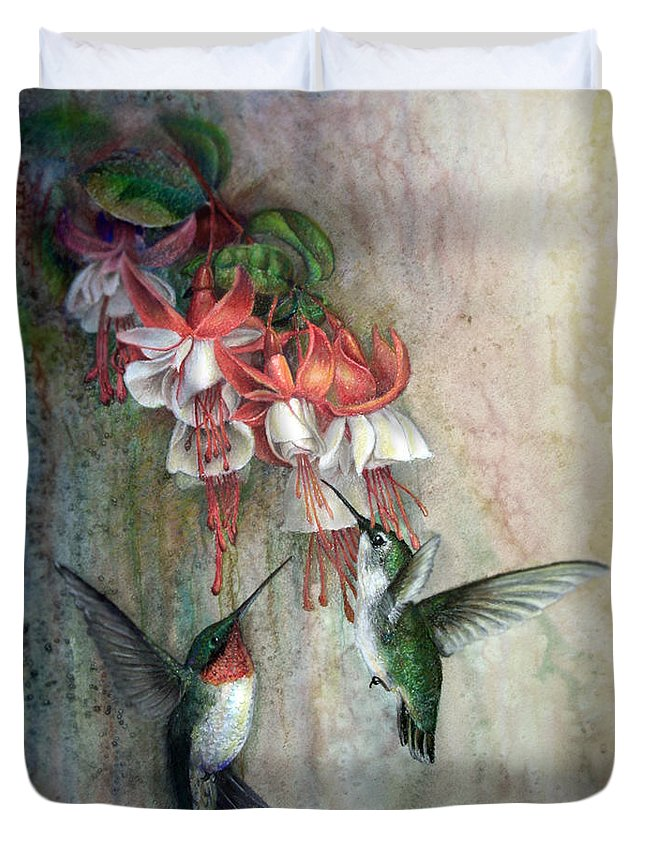 John F Willis Duvet Cover featuring the painting Hummingbirds And Fuschias by John F Willis