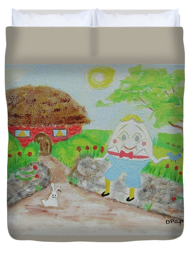 Humpty Dumpty Duvet Cover featuring the painting Humpty's House by Diane Pape