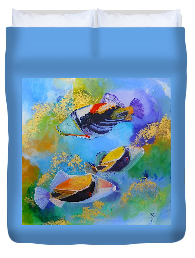 Tropical Fish Duvet Cover featuring the painting Humuhumu by Marionette Taboniar