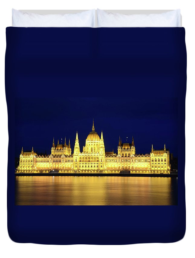 Hungarian Parliament Building Duvet Cover featuring the photograph Hungarian Parliament Building, Budapest by Dragos Cosmin Photos
