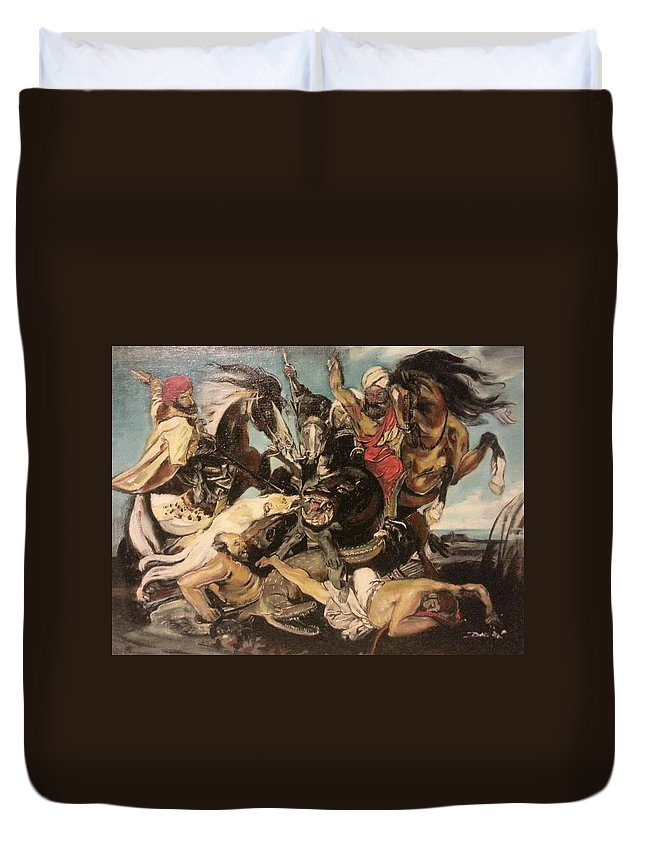 Duvet Cover featuring the painting Hunt By The Marsh Homage To Ruebens by Jude Darrien