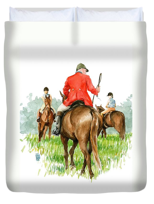 Fox Hunt Duvet Cover featuring the painting Huntsman by Debra Jones