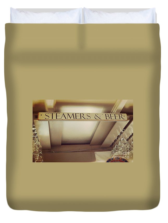 Steamers And Beer Duvet Cover featuring the photograph Hyannis Delights by Jennifer Boisvert