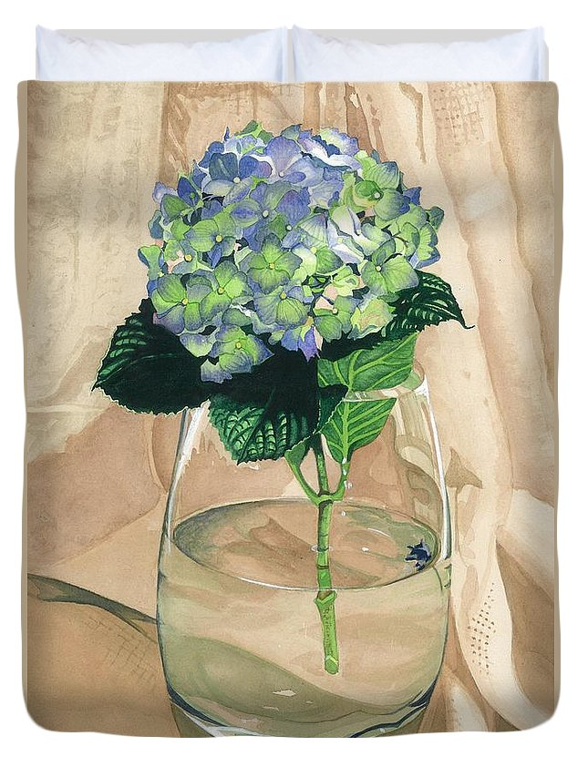 Flower Duvet Cover featuring the painting Hydrangea Blossom by Barbara Jewell