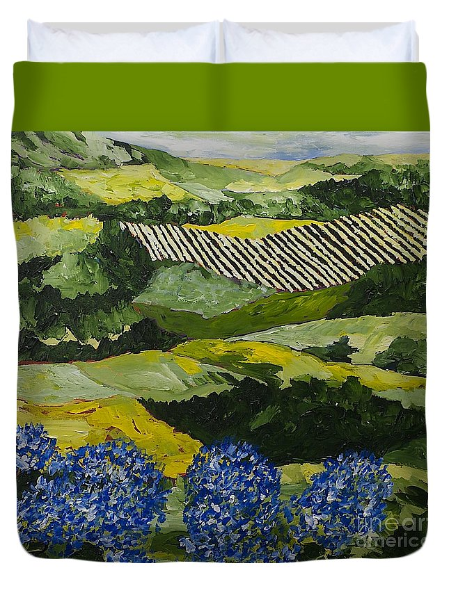 Landscape Duvet Cover featuring the painting Hydrangea Valley by Allan P Friedlander