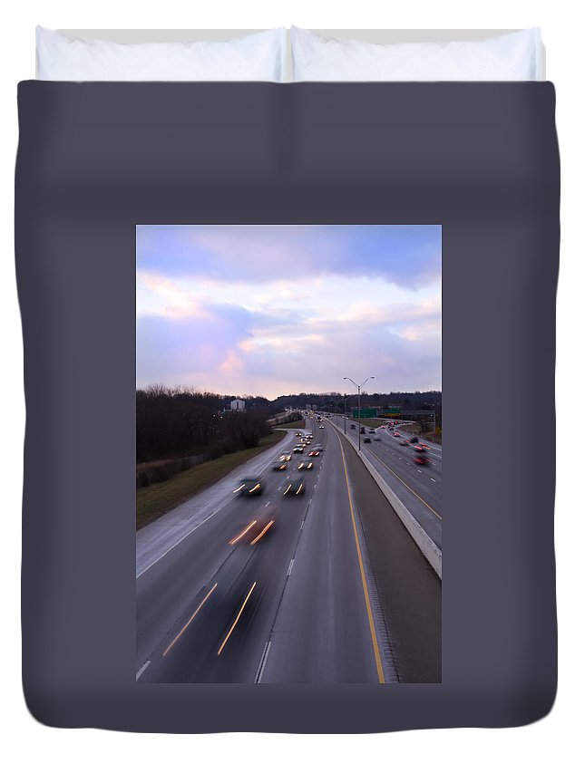 I-75 Duvet Cover featuring the photograph I-75 Knoxville At Dusk by Melinda Fawver