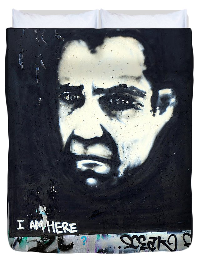 Face Duvet Cover featuring the photograph I Am Here by Munir Alawi