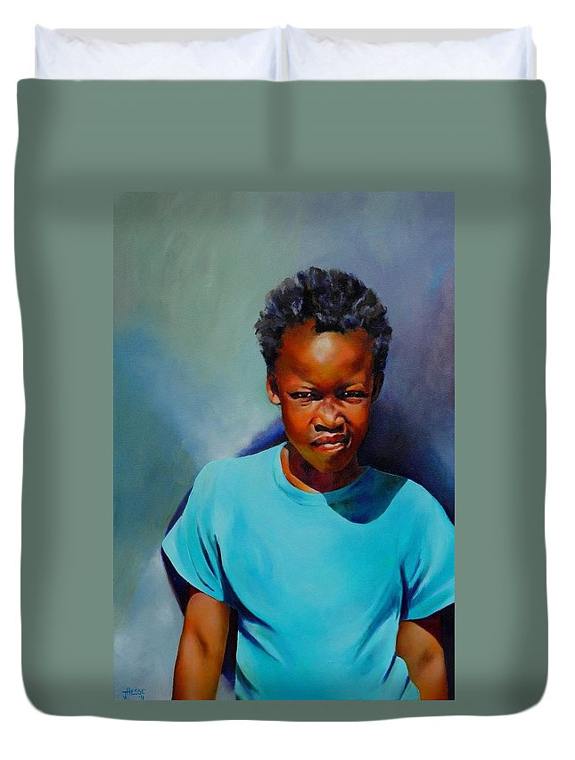 Portrait Duvet Cover featuring the painting I Am Somebody by Jolante Hesse
