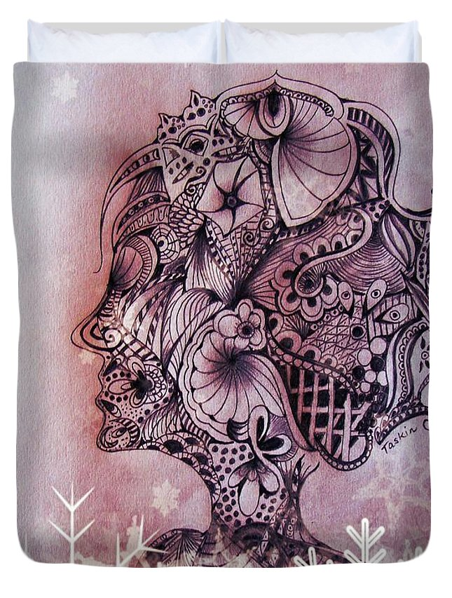 Pencil Duvet Cover featuring the drawing I Am by Taskin B