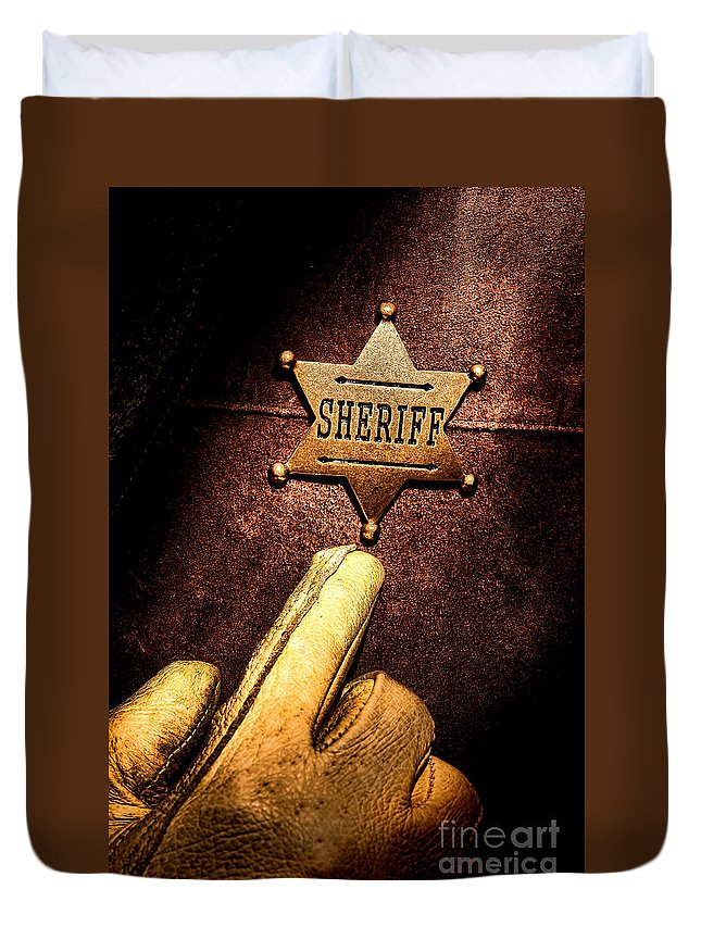 Sheriff Duvet Cover featuring the photograph I Am The Law by Olivier Le Queinec