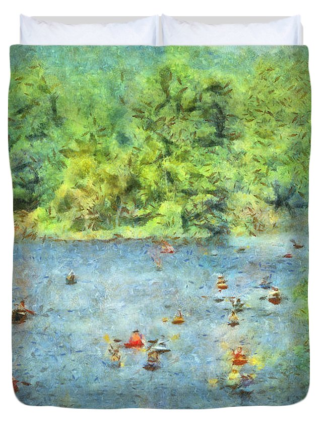 Tree Duvet Cover featuring the photograph I Can Canoe by Trish Tritz