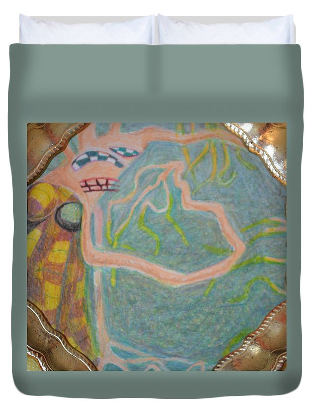 Abstract Modern Outsider Raw Woman Figure Dress Folk Surreal Lady Duvet Cover featuring the painting I Consciously Detach Myself by Nancy Mauerman
