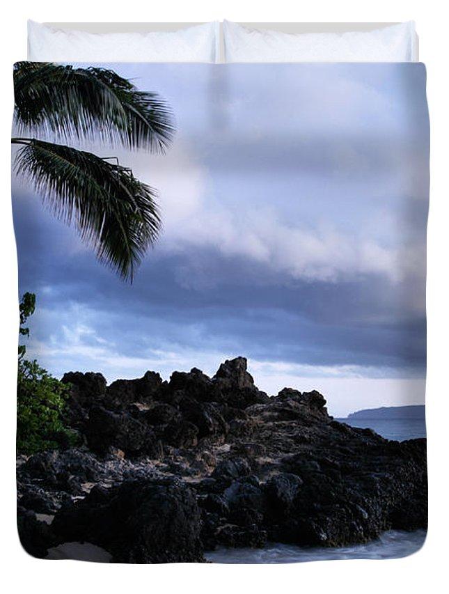 Aloha Duvet Cover featuring the photograph I Ke Kai Hawanawana Eia Kuu Lei Aloha - Paako Beach Maui Hawaii by Sharon Mau