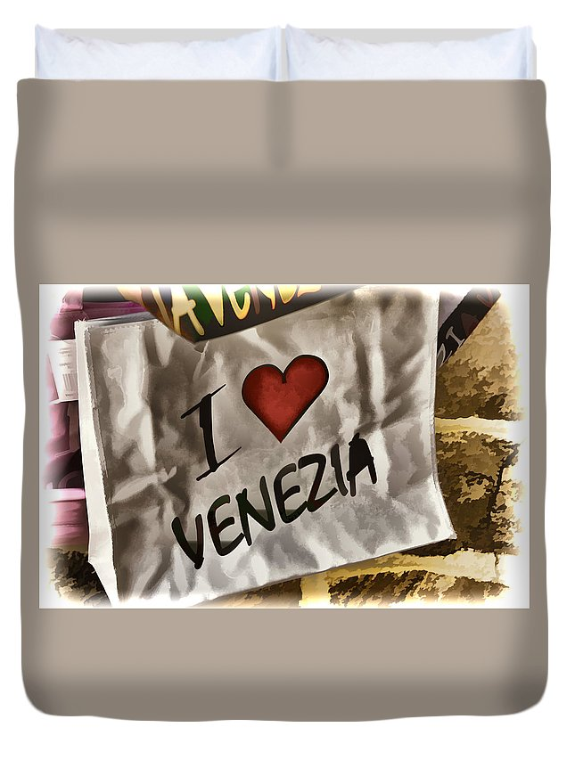 Gondola Duvet Cover featuring the photograph I Love Venezia by Jon Berghoff