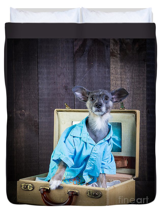 Dog Duvet Cover featuring the photograph I Need A Vacation by Edward Fielding