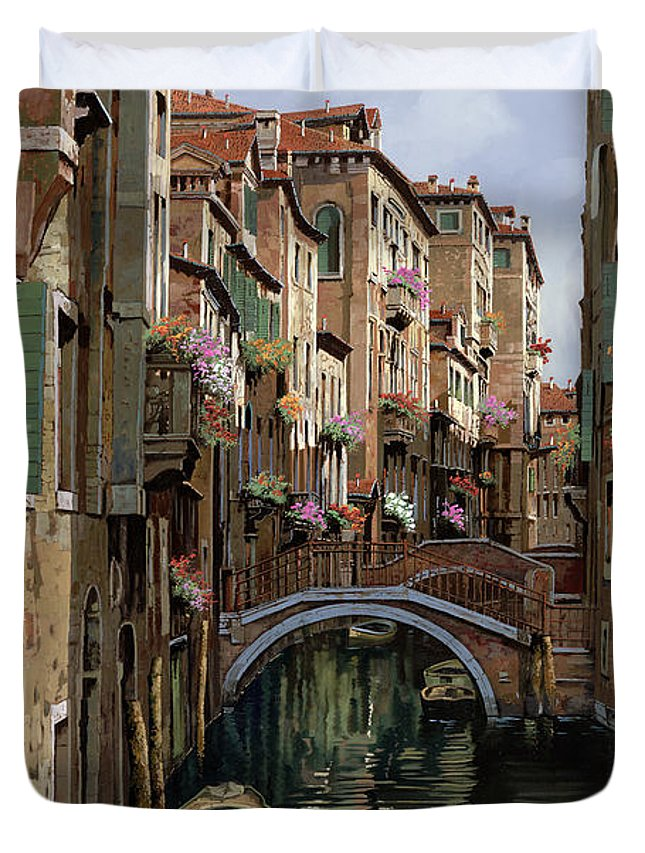 Venice Duvet Cover featuring the painting I Ponti A Venezia by Guido Borelli