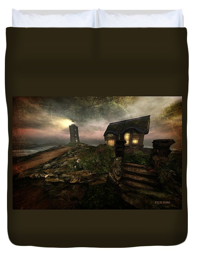 English Cottage Duvet Cover featuring the digital art I Stand Alone On An Emerald Isle by Kylie Sabra
