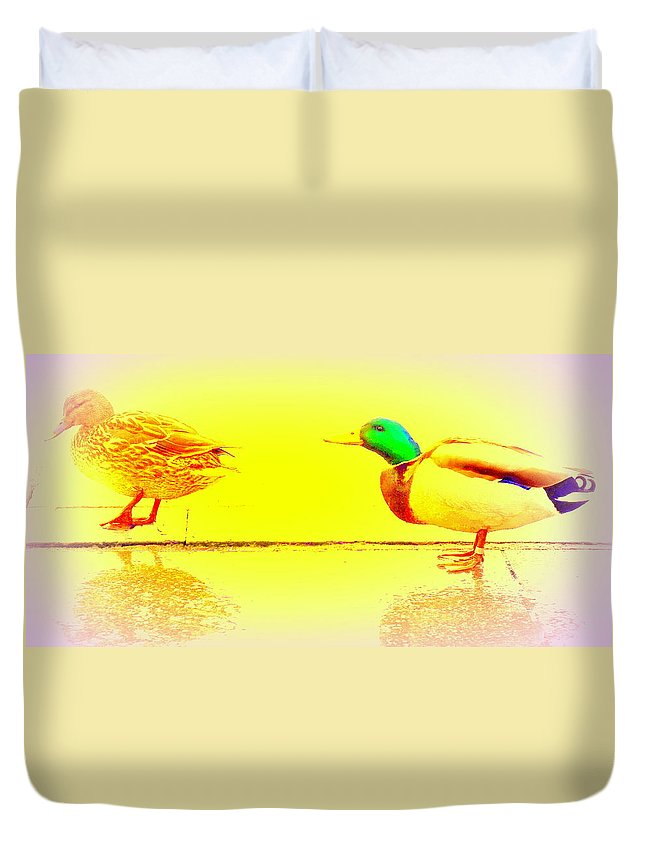 Duck Duvet Cover featuring the photograph I Try To Follow You But Do You Care by Hilde Widerberg