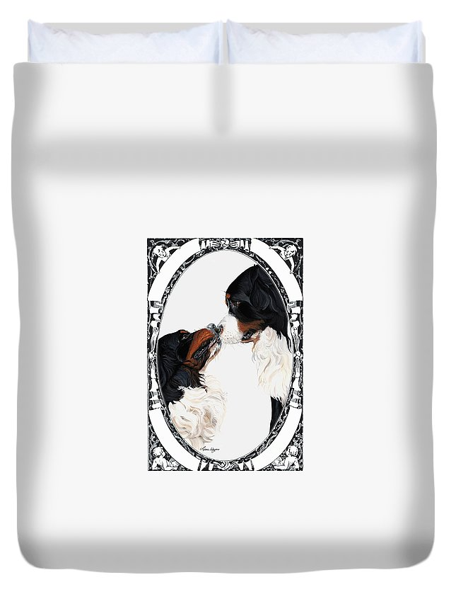 Bernese Mountain Dogs Love Kiss Smooch Painting Artist Liane Weyers Always Happy Heart Valentines Lovers Sweet Touching Duvet Cover featuring the painting I-will-always-love-you by Liane Weyers