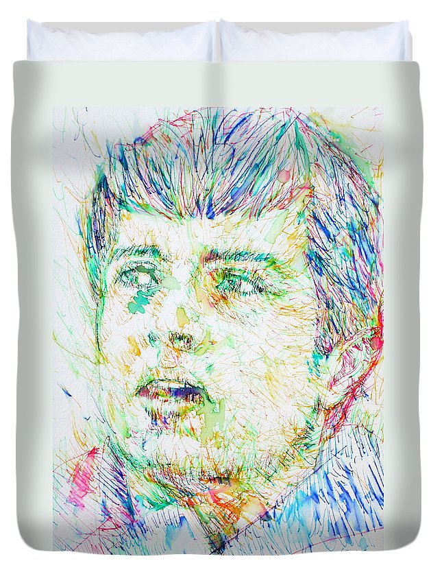 Ian Duvet Cover featuring the drawing Ian Curtis Portrait by Fabrizio Cassetta