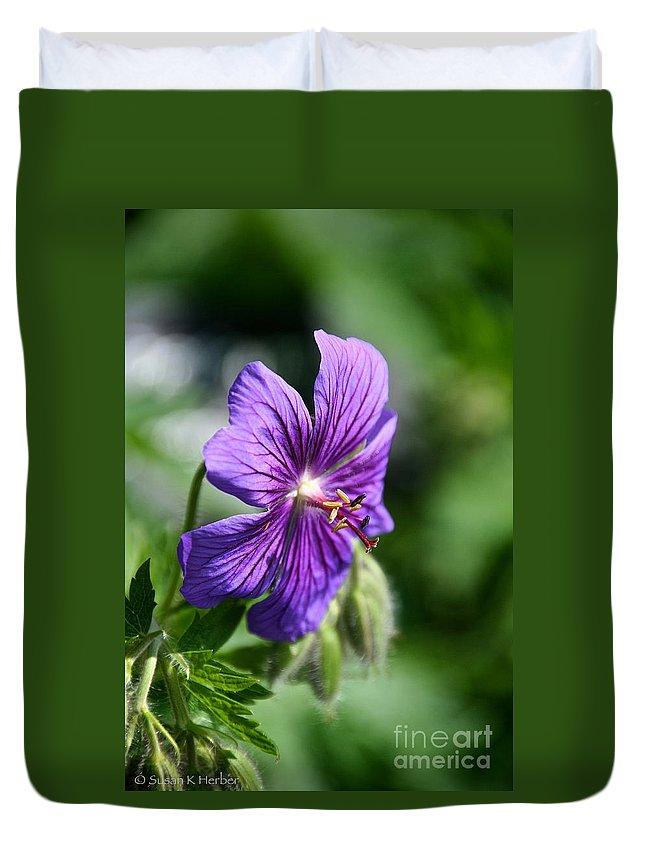 Flower Duvet Cover featuring the photograph Iberian Geranium by Susan Herber