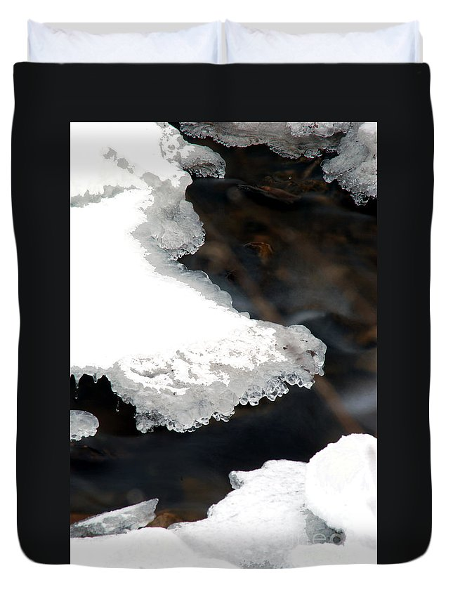 Snow Duvet Cover featuring the photograph Ice And Water by Optical Playground By MP Ray