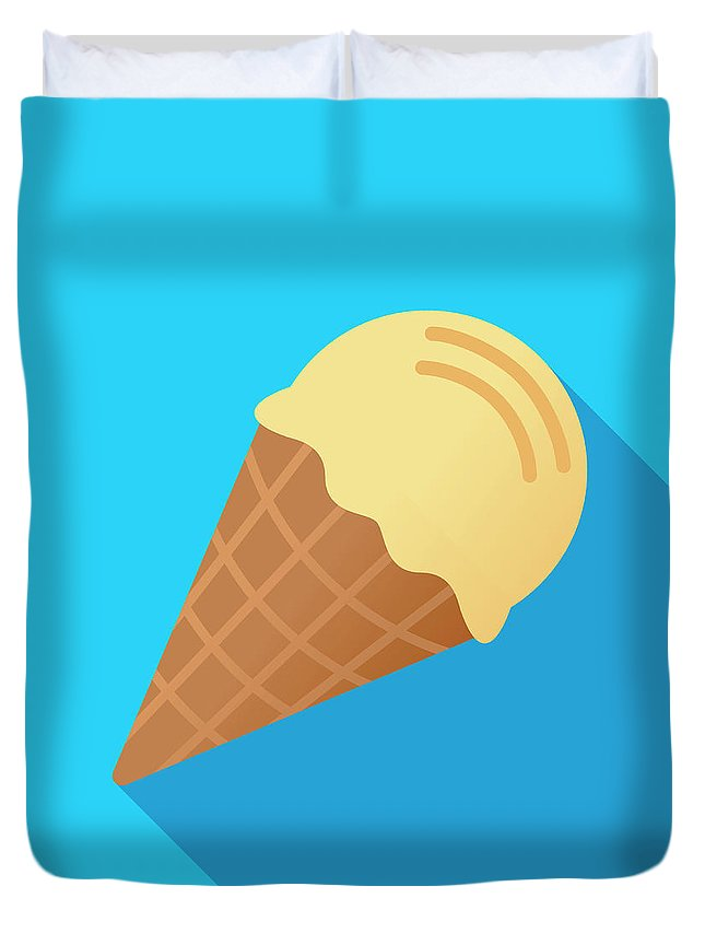 Melting Duvet Cover featuring the digital art Ice Cream Cone Icon Flat by Jakeolimb