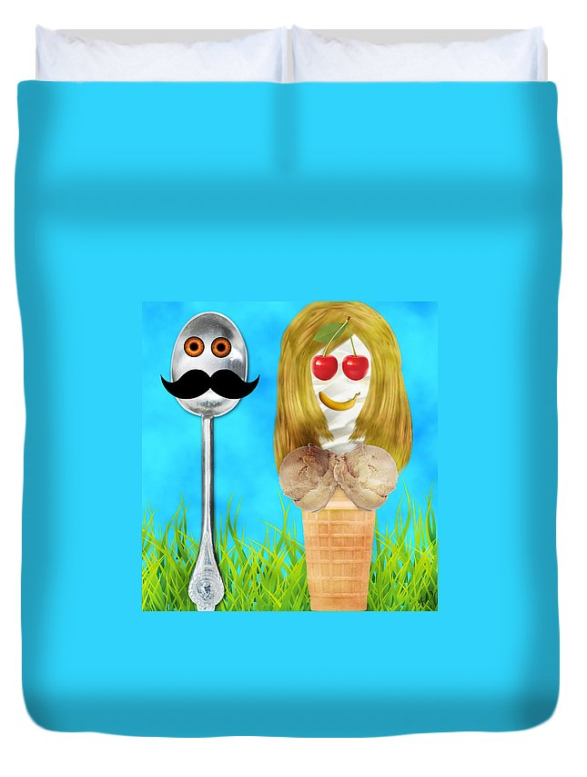 Contest Duvet Cover featuring the digital art Ice Cream Couple by Ally White