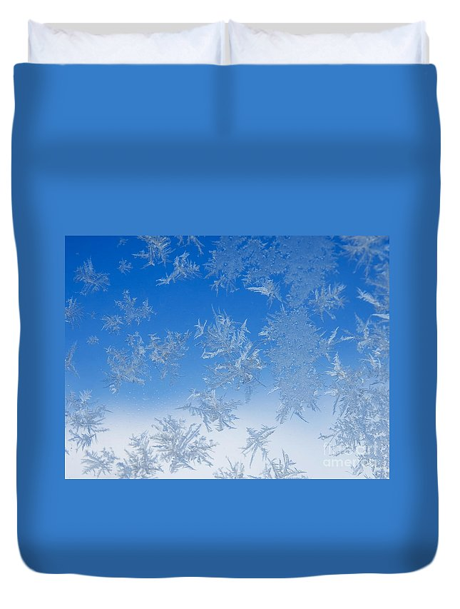 Ice Duvet Cover featuring the photograph Ice Crystals by Lee Roth