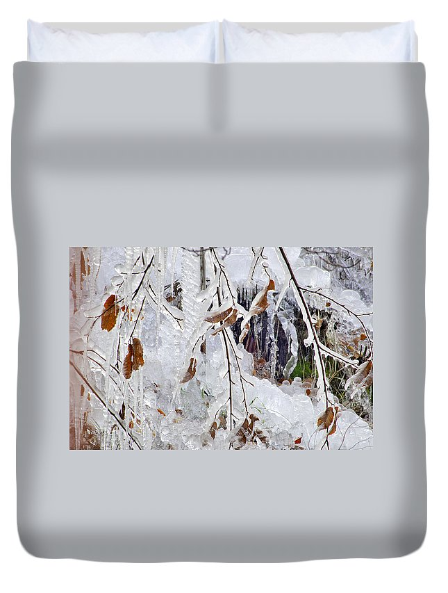 Duvet Cover featuring the photograph Ice Leaves by Guido Montanes Castillo