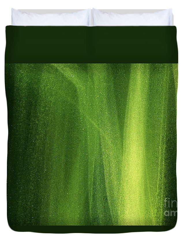 Green Duvet Cover featuring the photograph Ice On A Window With Light Painting That's Green by Robert D Brozek