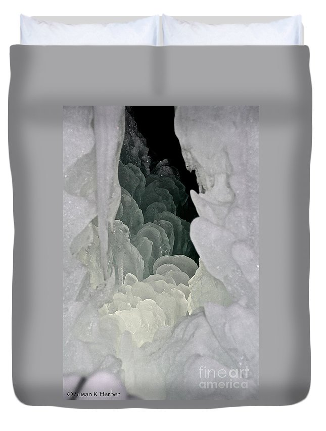 Ice Duvet Cover featuring the photograph Ice Scales by Susan Herber
