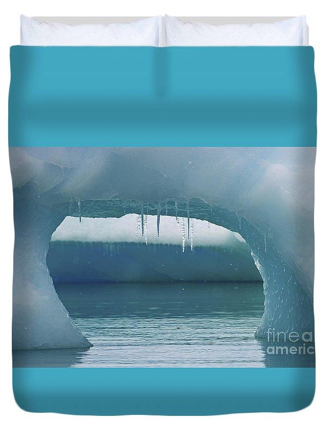 Ice Duvet Cover featuring the photograph Ice Window.. by Nina Stavlund