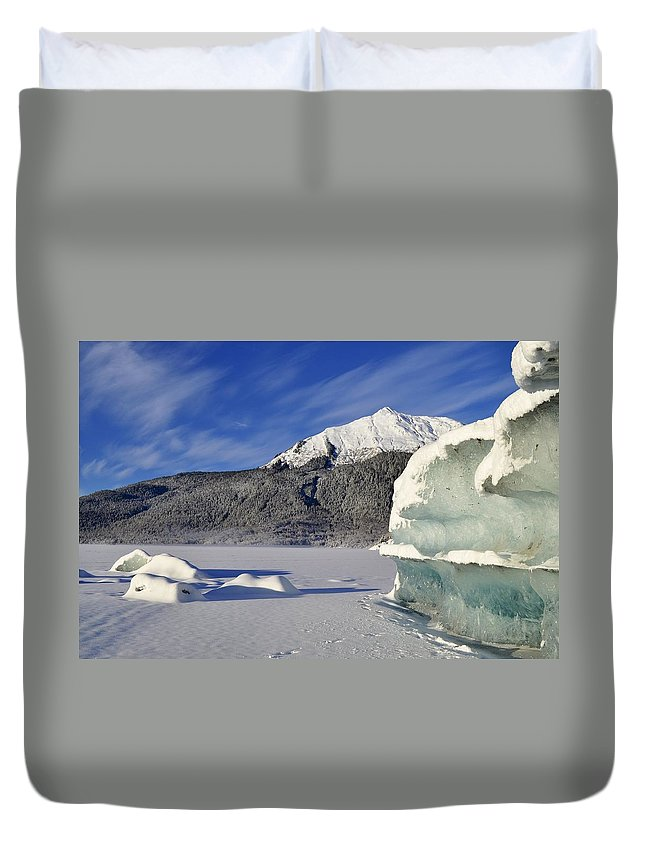 Iceberg Duvet Cover featuring the photograph Iceberg And Mount Mcginnis by Cathy Mahnke
