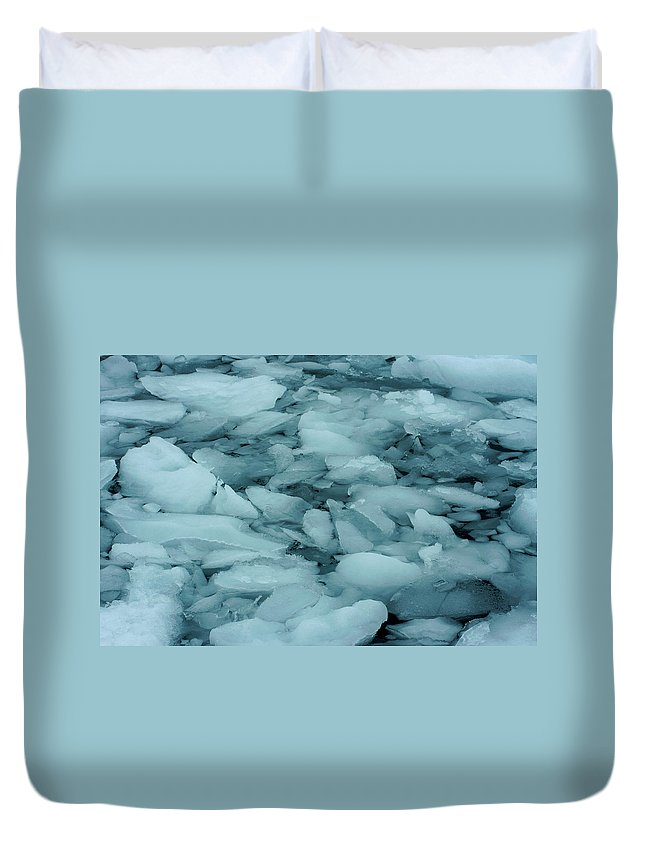 Iceberg Duvet Cover featuring the photograph Iceberg Bits by Amanda Stadther