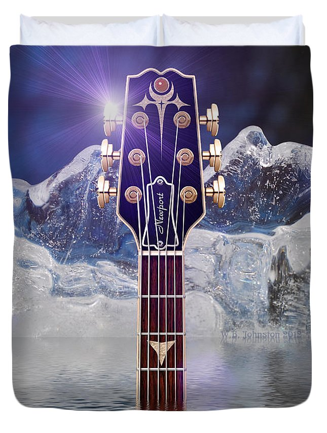 Guitar Duvet Cover featuring the digital art Iceberg Blues by WB Johnston