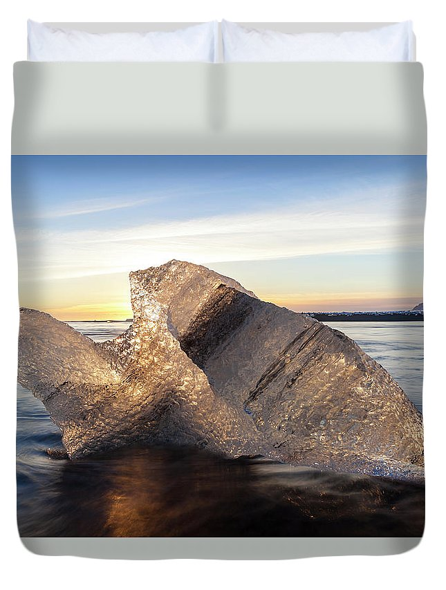 Scenics Duvet Cover featuring the photograph Iceberg In Sea By Jokulsarlon Glacier by Peter Adams