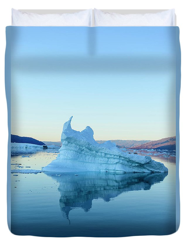 Scenics Duvet Cover featuring the photograph Iceberg In The Scoresby Sund by Berthold Trenkel