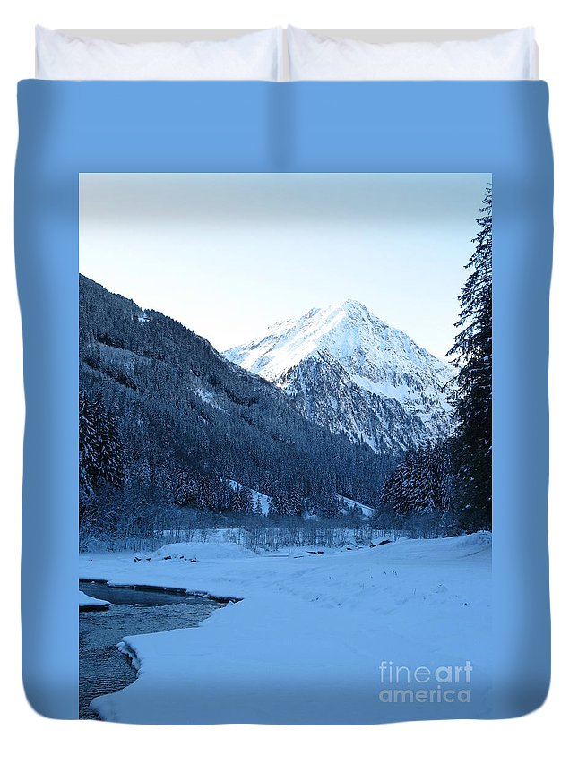 Snow Duvet Cover featuring the photograph Iceblue Snow by Christiane Schulze Art And Photography