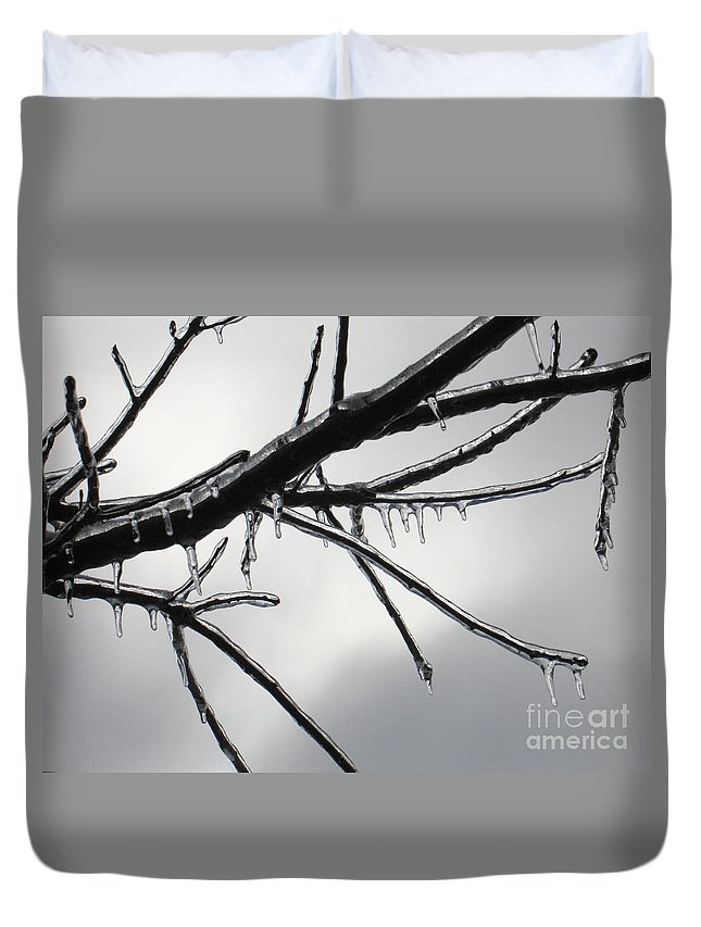 Winter Duvet Cover featuring the photograph Iced Tree by Ann Horn