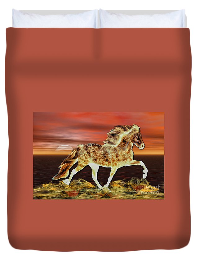icelandic Horse Duvet Cover featuring the painting Icelandic On Fire by Shari Nees