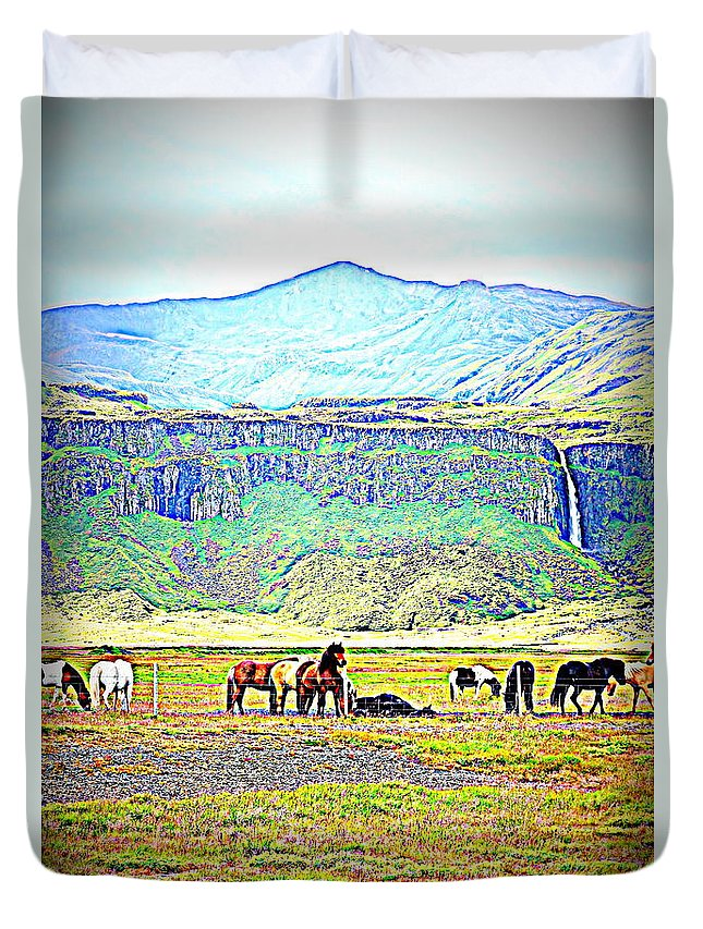 Iceland Duvet Cover featuring the photograph the Icelandic summer scene contains almost everything by Hilde Widerberg