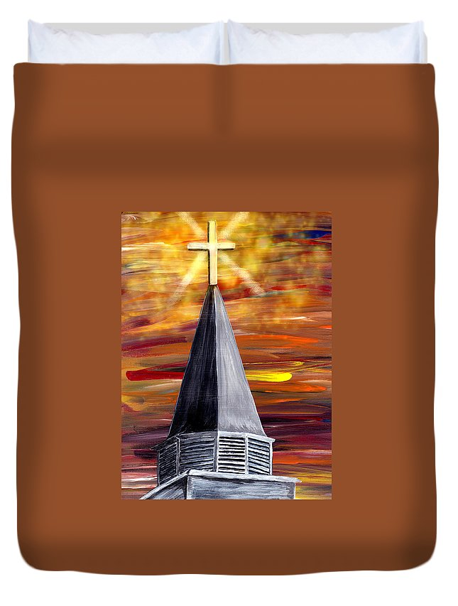 Mark Moore Duvet Cover featuring the painting Ich Glaube Digital by Mark Moore