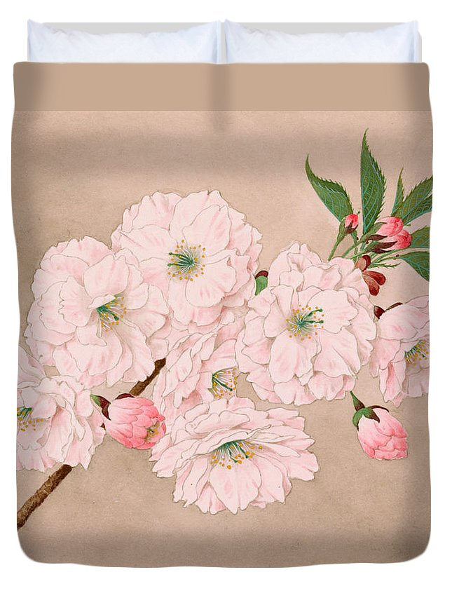 Japan Duvet Cover featuring the painting Ichi-yo - Single Leaf - Vintage Japan Watercolor by Just Eclectic